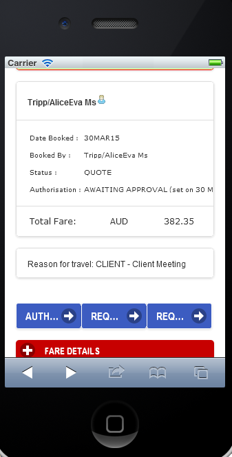 To Authorise booking (continued) If you wish to authorise one of the bookings, press the name and destination to proceed: button located next to the passenger Booking will be displayed with a