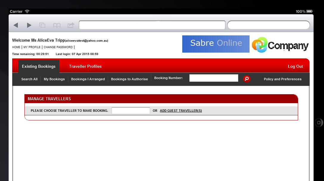 Create a new booking using mobile and tablet devices Create a new booking Sabre Online has improved its mobile functionality to offer a quick link to make new bookings.