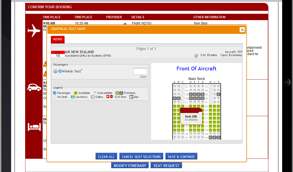 Availability search Seat Request Select the SEAT REQUEST button and the graphical