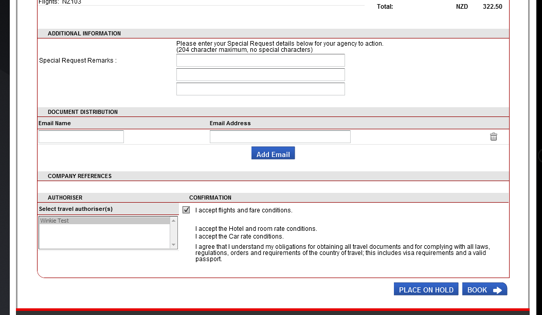 Confirming booking (Continued) Scroll down to complete all other fields as required and select BOOK to confirm.