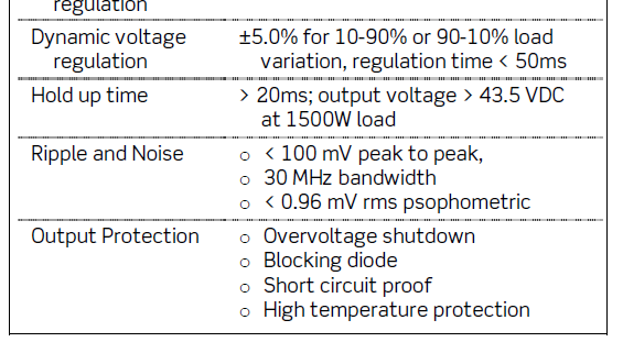 Typical Technical Specification Requirements for a 48V /2kW Telecom Rectifier: DC