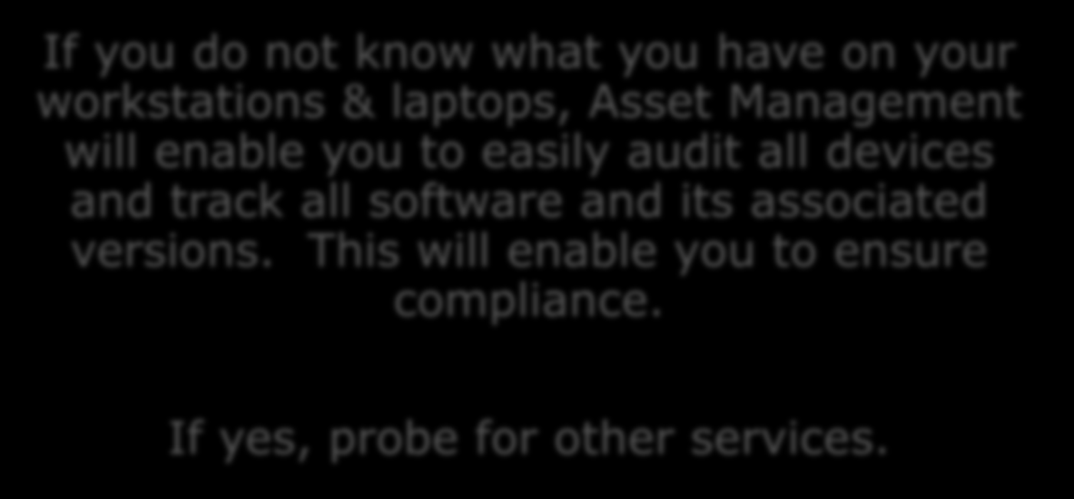 Identifying Asset Management Do you know if any workstations or laptops contain unlicensed or unapproved software? How do you keep track?