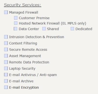 Managed Security on COP Form Check page 24 determine which manage firewall customer is looking for ( if you don t know Share or Dedicated Data Center firewall, leave it blank) Intrusion Detection &