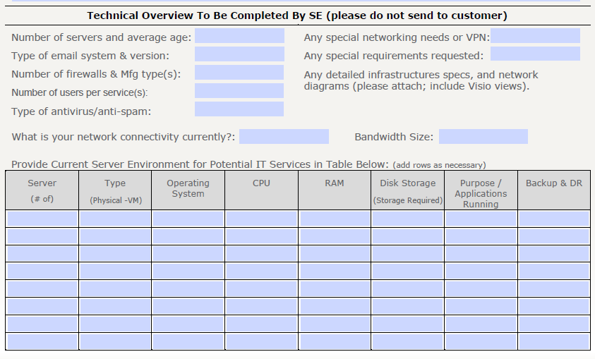 Current Environment on COP Form This information should be completed by the SE.