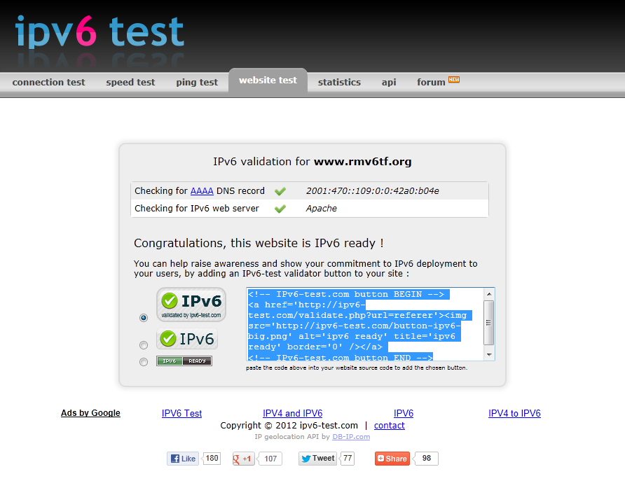 Test IPv6 From the Internet http://ipv6-test.com/validate.