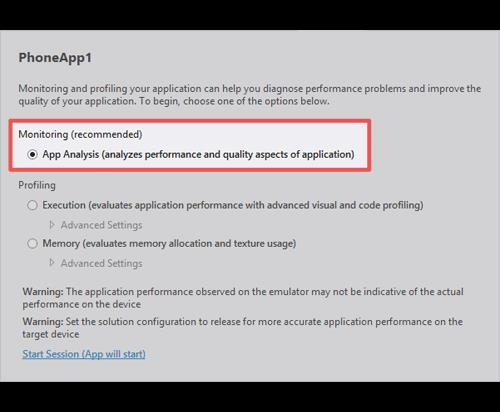 Windows Performance Debugging and Memory Profiling Tools The Windows Phone Application Analysis tool is a monitoring and profiling tool to evaluate and improve the quality and performance of Windows
