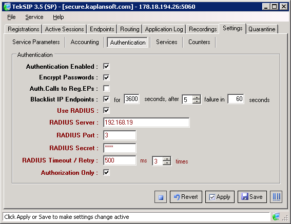 TekSIP Application Notes TekSIP SP edition provides SIP session control in conjunction with a RADIUS server. You need a RADIUS server which supports VoIP authorization.
