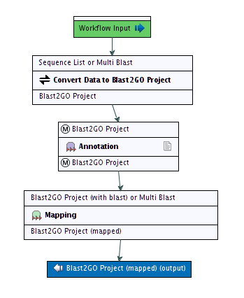 (a) Example of a correctly configured complete annotation workflow. (b) Example of a wrongly configured workflow. Figure 4.1: Two Blast2GO workflows in the CLC Workbench Table 4.
