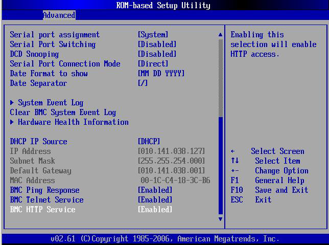 Figure 78 IPMI submenu of the BIOS Setup Utility System Event Logging --- Select to enable/disable IPMI event logging.