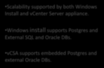 vcenter Server Features - Enhanced Capabilities Scalability supported by both Windows Install and