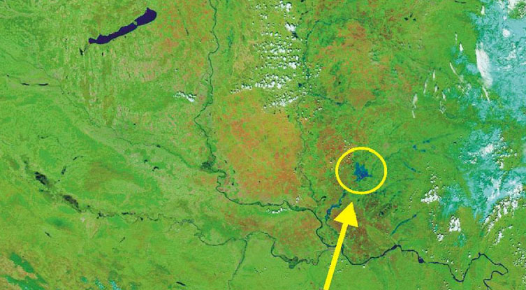149 Fig 49: The flooded area on 23 April, 2005, during the centennial Banat flood of the Temes (after: Gábor Timár et al.