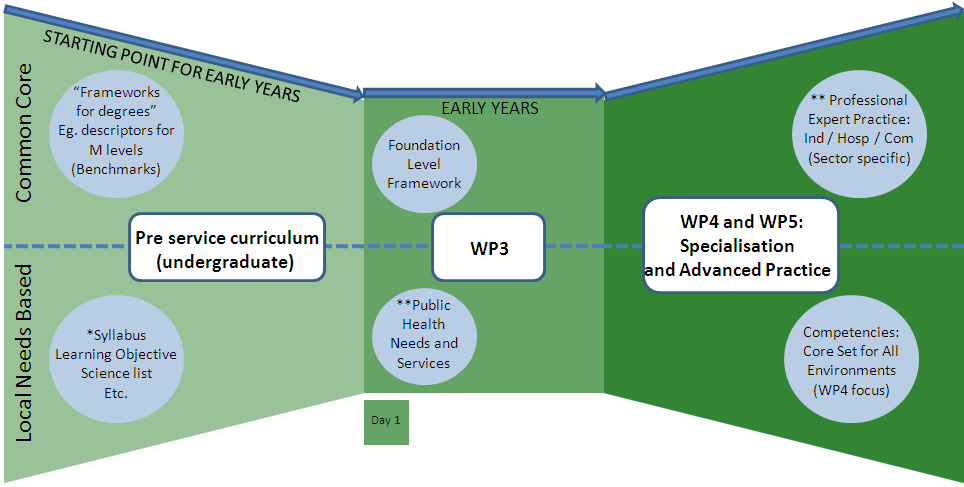DEXP 3.2. Codifying competencies 2. WP3 - THE FOUNDATION LEVEL OUTCOMES 2.1. Seamless EU Education A strategy is proposed here for seamless needs-based European pharmacy education (Figure 4 and 5).
