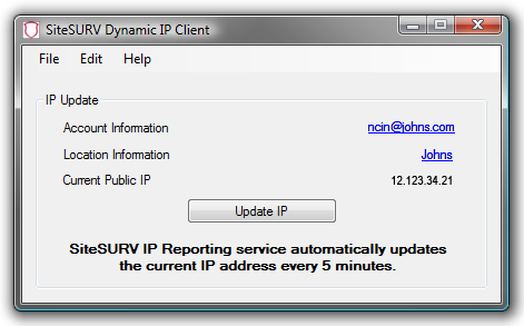 Dynamic IP Client 8. Enter the e-mail address and password used to setup and access your CyberPatrol account. Click OK. The following screen will appear: 9. Click on View and choose location.