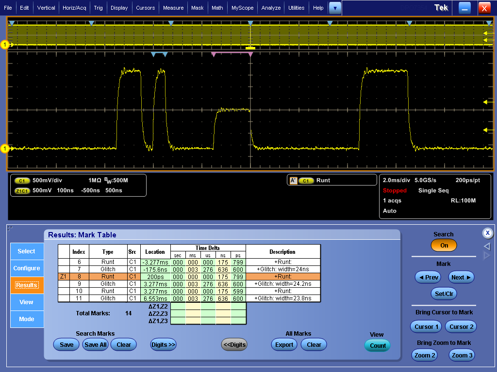Digital Phosphor Oscilloscopes DPO7000C Series Capture Triggering on a specific transmit data packet going across an RS-232 bus.