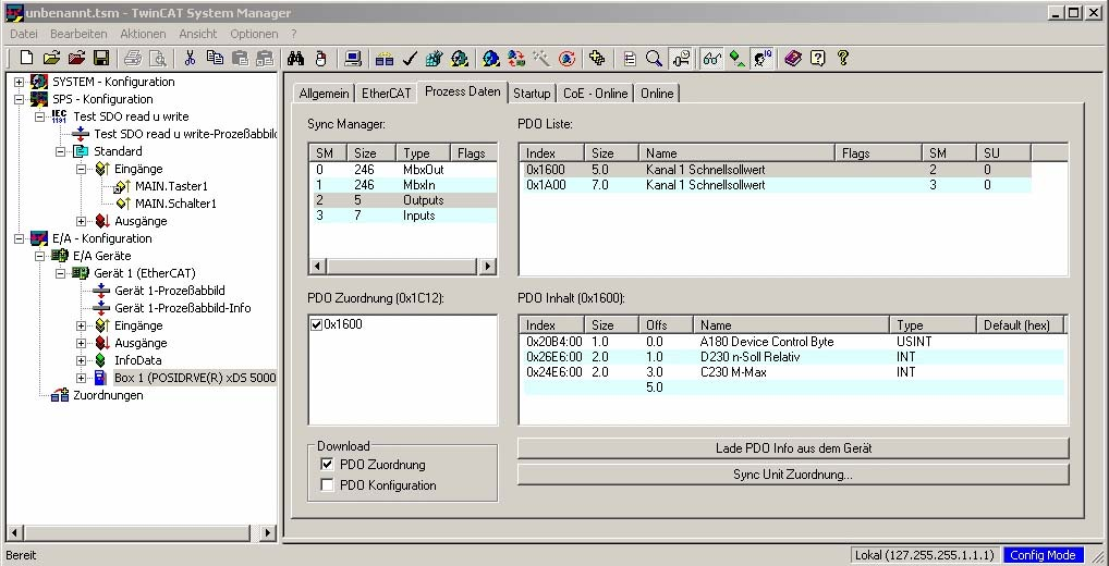 "The dialog screen shown in Figure 11-5 appears. Figure 11-5 View of the inverter on the TwinCAT System Manager 16. Click the tab ""Prozess Daten"" (process data)."