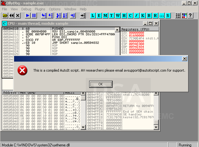 MALWARE INSTALLATION The malware relies on UPX to pack a compiled AutoIt script.