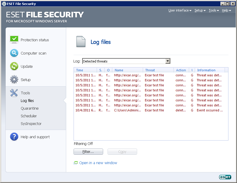 4.6 Log files The Log files contain information about all important program events that have occurred and provide an overview of detected threats.