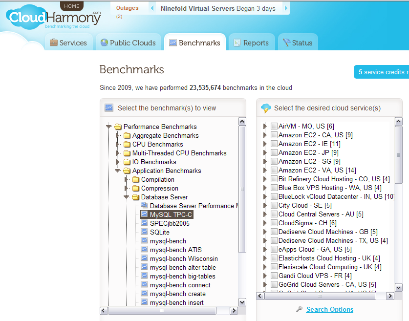 Some options in DB Cloud Benchmarking already exist. CloudHarmony provides a for-fee service using relatively simple benchmarks to compare a wide variety of application environments.