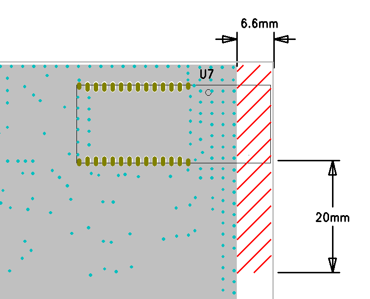 S11 (db) Edge of the PCB Do not place copper or any metal within the area marked with cross lines GND area with stitching vias Figure 12: Recommended metal keep put area for WT11i Effect of PCB
