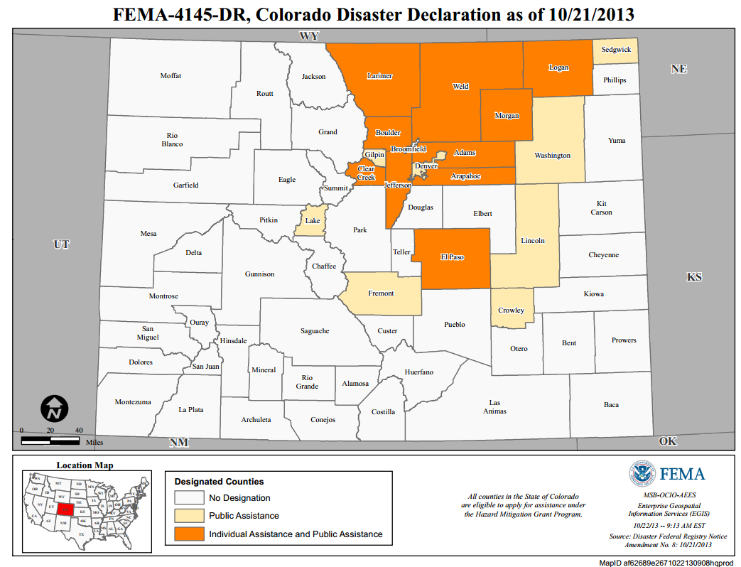 Figure 13: FEMA Disaster Declarations for Colorado as of October 21, 2013 NWS confirmed eight fatalities (Table 1) as a direct result of the flooding and debris flows across eastern Colorado.