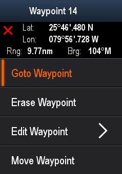 Waypoints are represented on-screen using customizable waypoint symbols. Waypoint can be created, moved, deleted, exported to memory card or imported from a memory card.