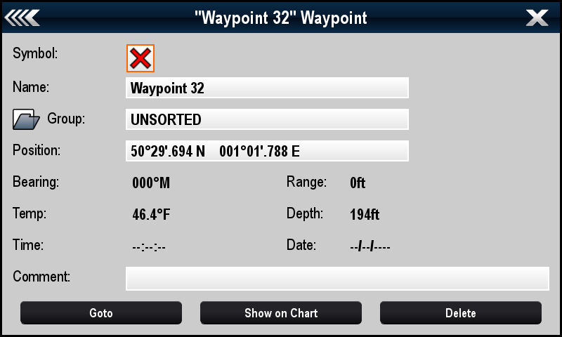Renaming a waypoint group With the Waypoint group list displayed: 1. Select the group you want to rename. Group details are displayed. 2. Select Rename Group. The on-screen keyboard is displayed. 3.