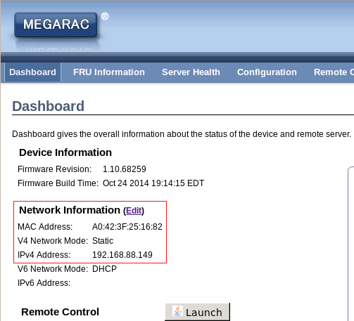 Via MEGARAC to set BMC IP 2.4.8 Assume BMC IP is 192.168.88.149 and Static mode. Open MEGARAC by a browser and key in https://192.168.88.149, then login as admin and password is admin.
