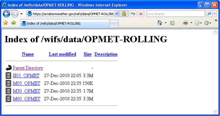 6.3.3 OPMET-ROLLING There are four individual OPMET data files within this folder that are generated from the OPMET_MINUTE files, and are in a format that was requested by the WIFS vendors.