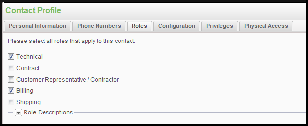 ROLES TAB: 1. Click the Roles tab to update the role settings for the selected contact.