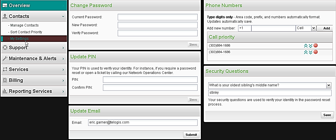 CHANGING MY SETTINGS The Contacts My Settings menu option allows you to update your Password, PIN, Security Questions, Email, Contact Numbers, and/or Contact Priority as described next: 1.