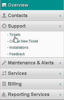 SUPPORT These functions allow you to view tickets, create a new ticket, view installations information, and send customer feedback to ViaWest.