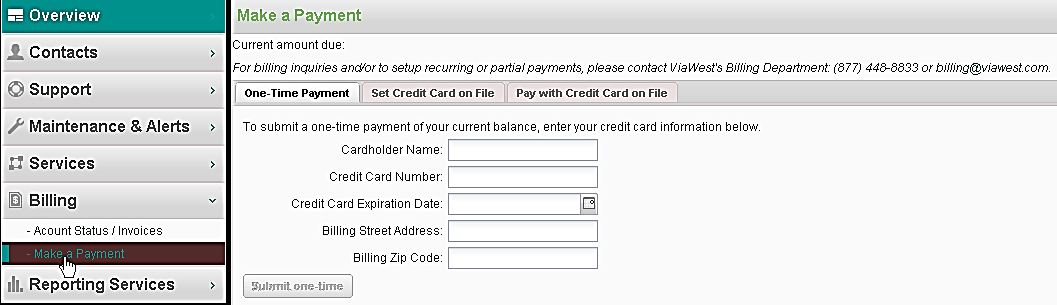 Payment Options You can: Make a normal payment with a credit card you have on file at ViaWest.