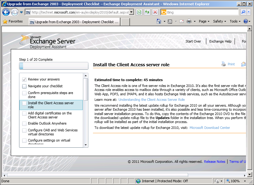 appropriate. Move data from Exchange 2003 back-end and Exchange 2007 Mailbox servers to Exchange 2010.