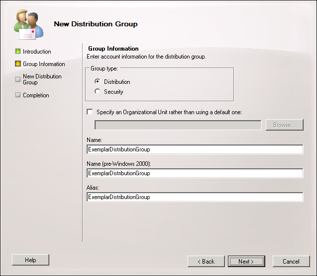 2. Select whether you want to create a new distribution group or mail-enable an existing universal security group.