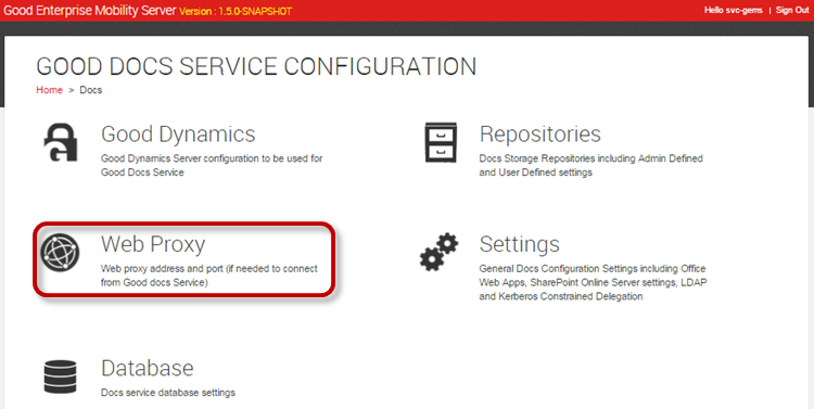 Configuring GEMS Services Web Proxy If you use a web proxy to connect your enterprise servers to the Internet for SharePoint and Office Web App Server (OWAS), you will need to enable Use Web Proxy