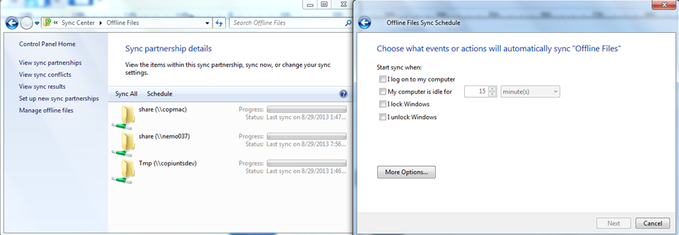 Configuring GEMS Services files in a network folder, Windows automatically syncs the changes the very next time you connect to that network folder.