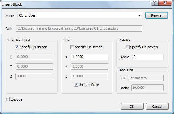 06/12/13 Inserting Blocks = Inches) The Unit field under Block Unit is set by the INSUNITS (Insertion Units) settings variable in the source drawing.