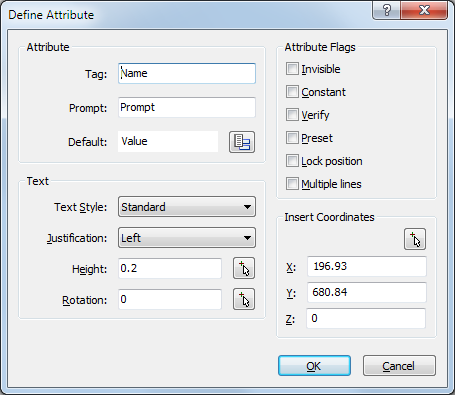 06/12/13 Defining Attributes Click here to show toolbars of the Web Online Help System: show toolbars Defining Attributes Command: ATTDEF and ATTDEF The Attdef command defines how a block's
