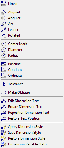 Click here to show toolbars of the Web Online Help System: show toolbars Dimensioning tools overview All tools to create dimension entities can be found either on the Dimensions toolbar or in the