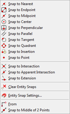 When no command is active, the above procedures toggle the Entity Snap modes on/off. When a command is active, the above procedures set a 'one shot' override of the current Entity Snap modes.