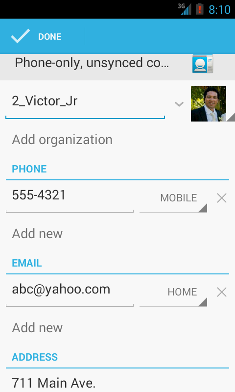 Example 6: ACTION_EDIT (Contacts) Select a particular person (ID 2) from the contact list for editing purposes.
