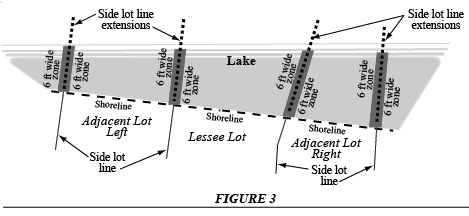 (3) Figure 3 is an example of a shoreline which is essentially a straight line across adjoining lots.