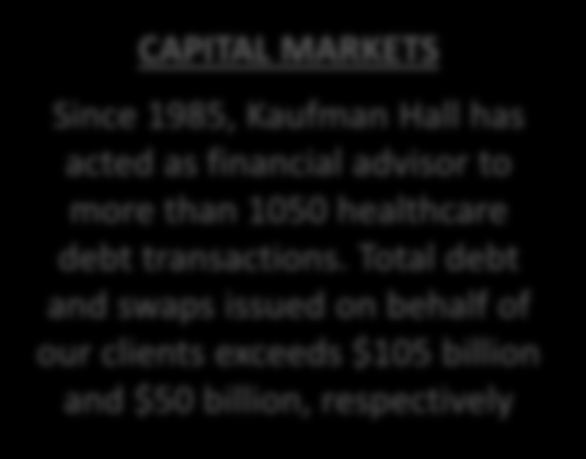 CAPITAL MARKETS Since 1985, Kaufman Hall has acted as financial advisor to more than 1050 healthcare debt transactions.