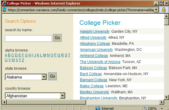 Adding Colleges to Your List in Naviance 1) Under colleges I m applying to, click add to this list 2) Click lookup on the right side of the page to pull up the list of colleges in Naviance.