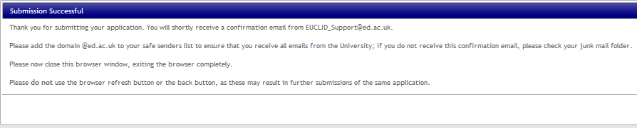 Step 16 After a moment, a Submission Successful window will appear to confirm the submission of your application.