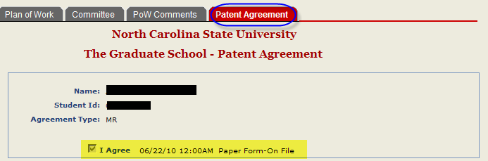 To view the Patent Agreement, select the Patent Agreement Tab.