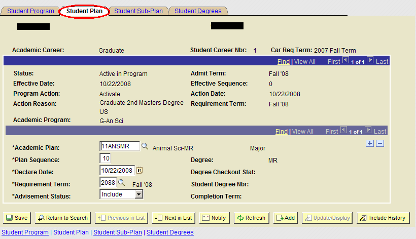 Step 3 Then, on Student Plan tab that is associated with that same program: Choose new Academic Plan from the menu.
