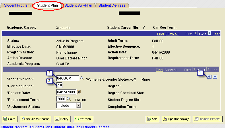 Step 2 On the Student Plan tab 1. Click on to Add a Row (the is located on the bottom half of the screen that is already designating the degree plan): 2.
