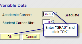 Step 1 1. Administrative Function = SPRG (Student Program) 2. Comment Category = CNAM (Name Announced @ Graduation) 3. User ID and current date default 4.