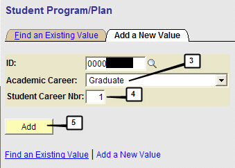Navigation Page / Tab Name Step 1 Main Menu > Student Information Systems > Records and Enrollment > Career and Program Information > Student Program/Plan Student Program/Plan Search Search for the